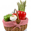Basket of fresh vegetables — Stockfoto