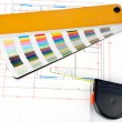 Color guide and measuring tape — Stock Photo