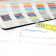 Architectural plan and color guide - Stock Photo