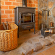 Fireplace and tools - Stock Photo