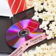 DVD, popcorn, soda and cinema tickets — Stockfoto