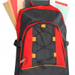 Backpack with school material — Stock Photo