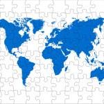Puzzle world map — Stock Photo