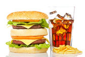 Double cheeseburger, soda and french fries — Stock Photo