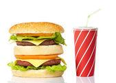 Cheeseburger and soda drink — Stock Photo