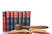 Gavel over the opened law book — 图库照片
