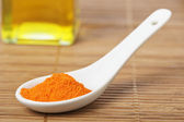 Saffron in the spoon — Stock Photo