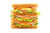 Double ham sandwich — Stock Photo