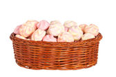 Pink marshmallows in the basket — Stock Photo