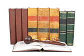 Wooden gavel and law books — Stock Photo