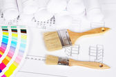 Two paintbrushes and color guide — Stock Photo