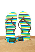 Flipflops on the sand — Stock Photo