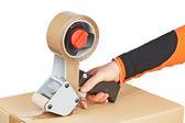 Dispenser di nastro di imballaggio e scatola di spedizione — Foto Stock