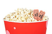 Detail of tickets and popcorn — Stock Photo