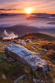 Montagne sopra la nebbia — Foto Stock
