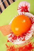 Dessert with peach, cracker and cream — Stock Photo