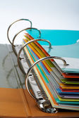 Binder closeup with files stacked — Stockfoto