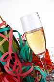Champagne glass and bottle — Stock Photo