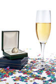 Champagne glass with ring — Stock Photo