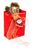 Santa Claus and red bag — Stock Photo