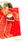 Santa Claus and red bag — Stock Photo