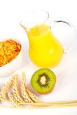 Orange juice and cereals — Stock Photo