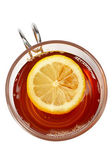 Glass cup of tea with lemon — Stock Photo
