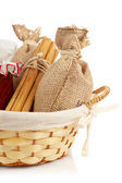 Burlap sac, jam jar, cinnamon and — Stock Photo