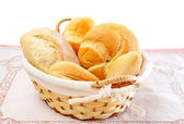 Fresh breads in a basket — Stock Photo
