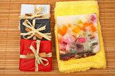 Three gifts and fruits soap — Stock Photo