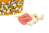 Two tickets and popcorn bucket — Stock Photo
