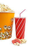 Popcorn bucket, tickets and soda — Stock Photo