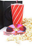 DVD, popcorn, soda and cinema tickets — Stock Photo