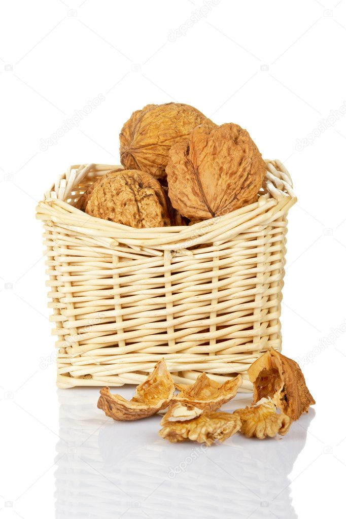 A walnuts in the basket, reflected on white the background  Stock Photo #6340037