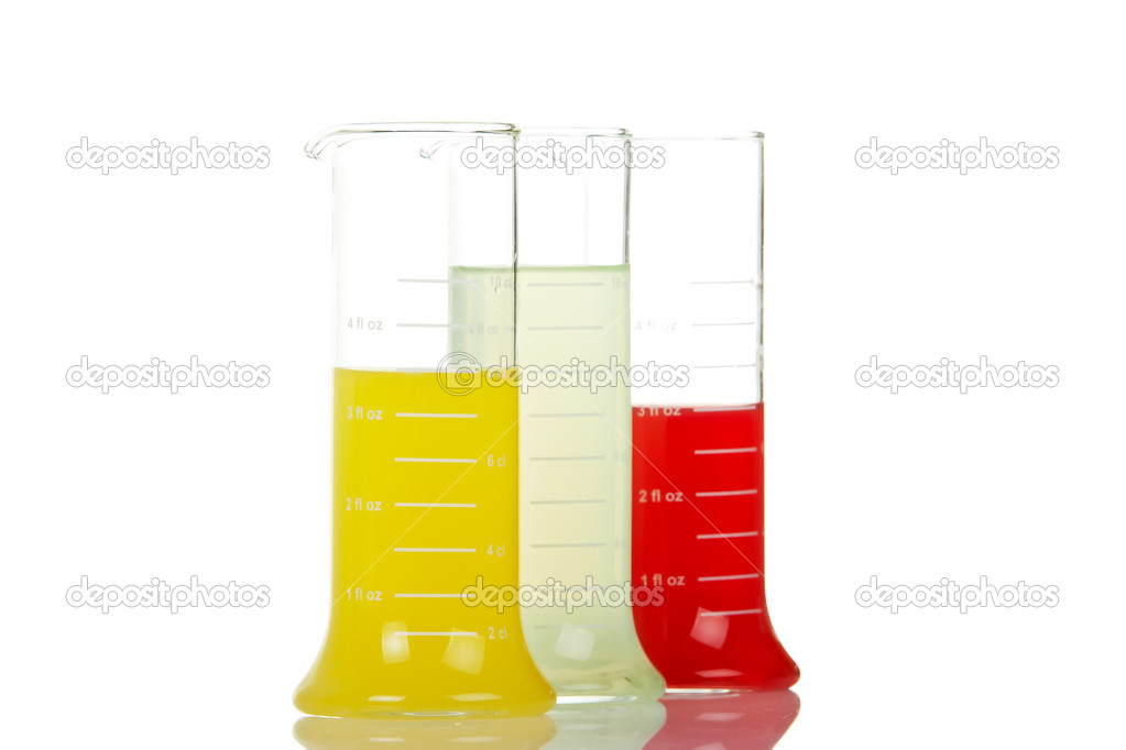 Three test flasks with liquids reflected on white background. Shallow DOF  Stock Photo #6340047