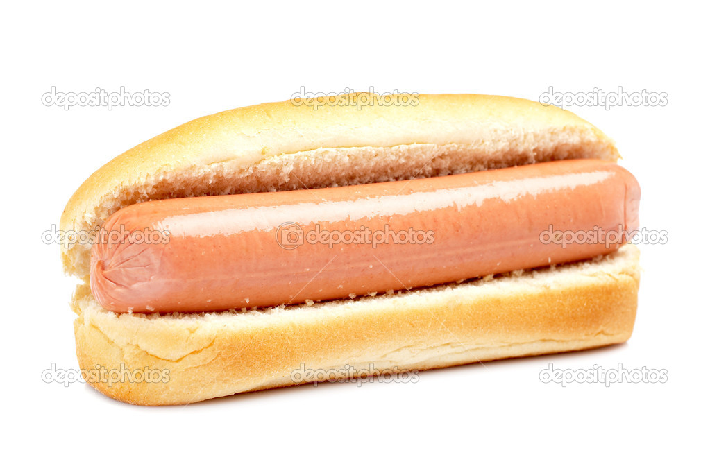 A hot dog with soft shadow on white background. Shallow DOF  Stock Photo #6340397