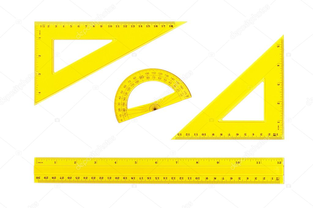 Drafting measurement tools isolated on white background. Path included — Stock Photo #6341540