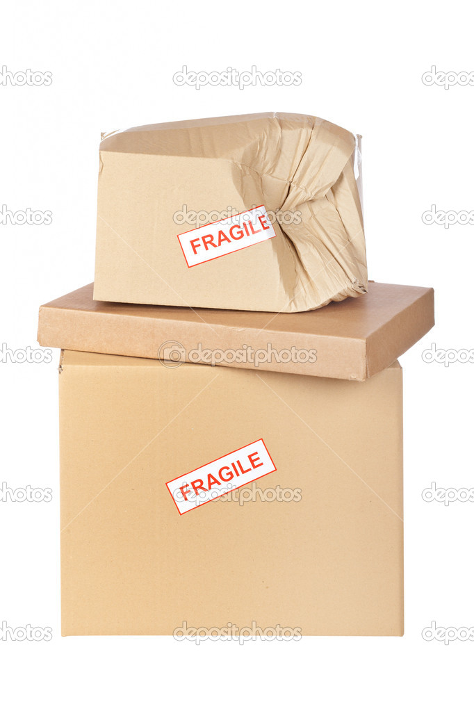 Damaged cardboard box,  isolated on white background — Stock Photo #6345277