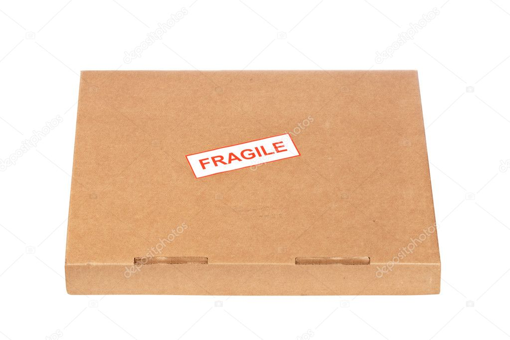 Fragile on cardboard box,  isolated on white background  Stock Photo #6345283