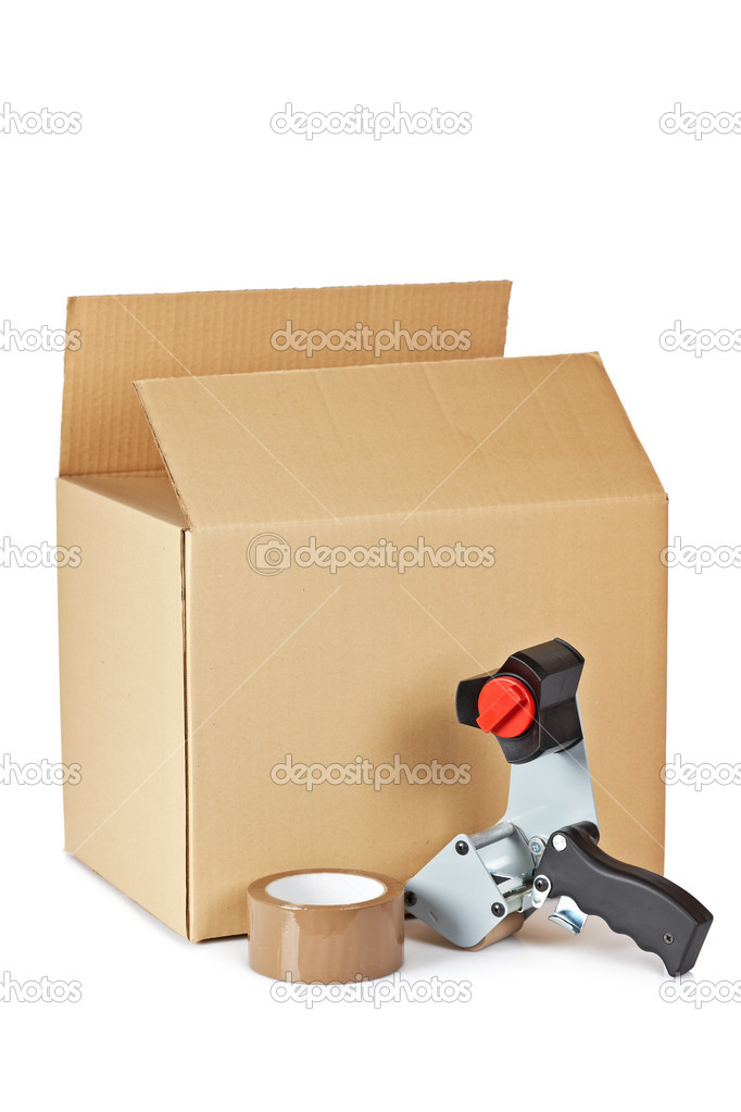 Packaging tape dispenser and shipping box isolated on white background  Stock Photo #6347040