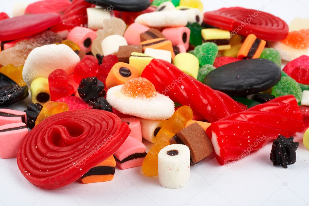 Detail of colorful sweets.  Macro shot on white background. Very shallow dof — Stock Photo #6347816