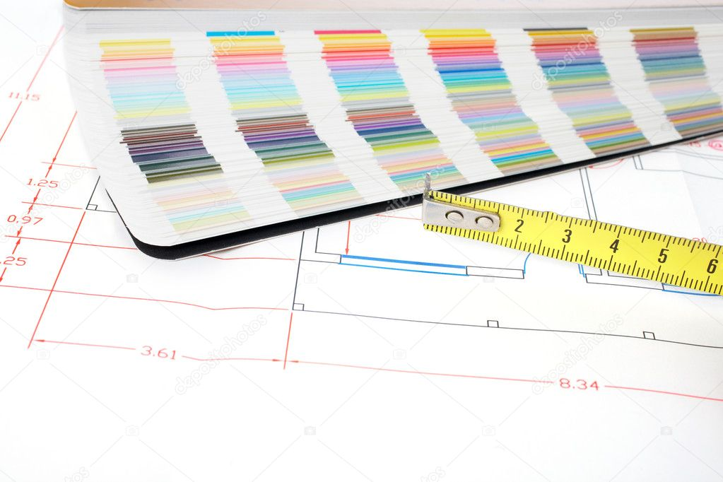 Colour guide, measuring tape and architectural plan  Stock Photo #6348765