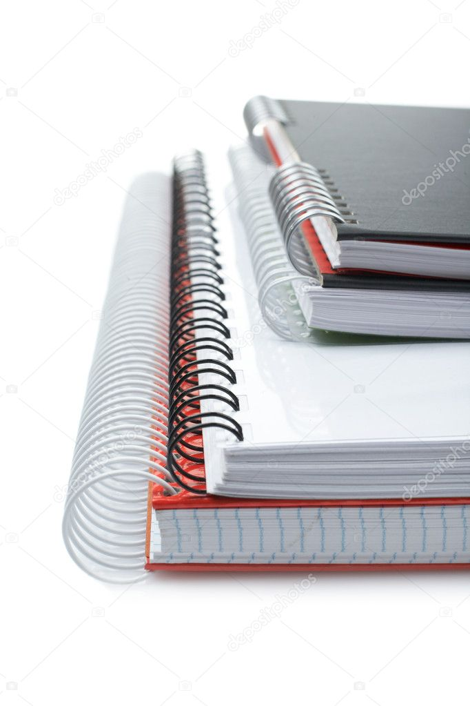 Some notebooks with soft shadow on white background. Shallow DOF — Stock Photo #6349104