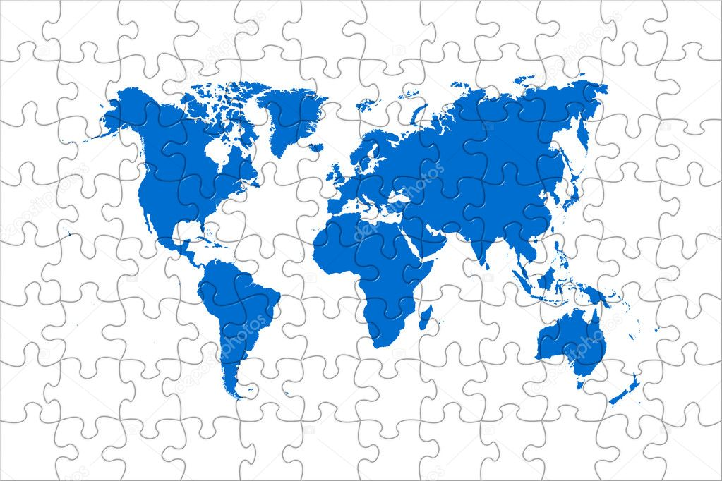 High quality puzzle world map image over a white background — Stock Photo #6349187