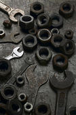 Mechanic's wrenches and nuts — Stock Photo