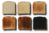 Six stages of toast — Stock Photo