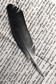 Quill over old letter — Stock Photo