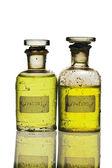 Chemistry bottles on white — Stock Photo