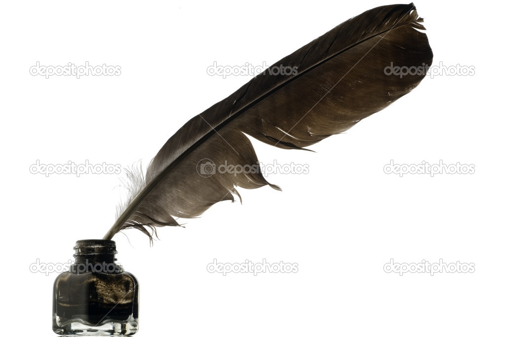 Quill Writing A feather quill in an ink