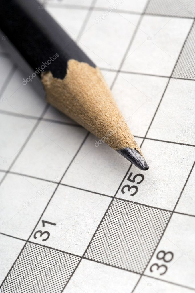 Closeup of a pencil on a crossword puzzle — Stock Photo #5756019